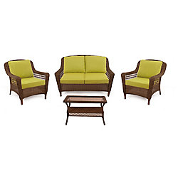 Hampton Bay Spring Haven 4-Piece All-Weather Wicker Patio Set in Brown with Green Cushions