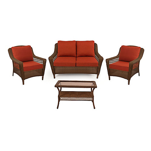Spring Haven Brown Wicker 4 PC SET with Orange Cushion