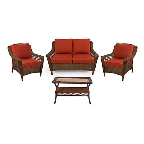 Spring Haven Brown Wicker 4-Piece SET w/ Orange Cushion