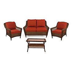 Spring Haven Brown Wicker 4 PC SET with Orange Cushion