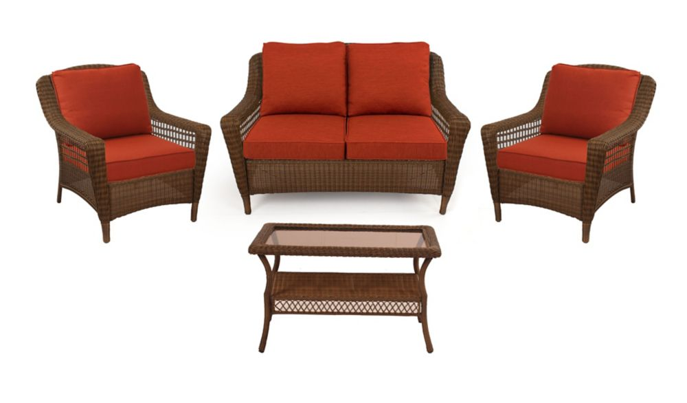Hampton Bay Spring Haven Brown Wicker 4 PC SET w/ Orange Cushion