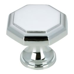 Richelieu Traditional Metal Knob 1 3/16 in (30 mm) Dia - Chrome - Marseille Collection
