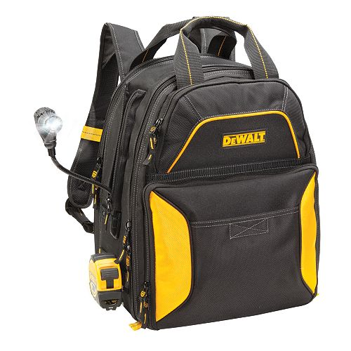 DEWALT 33-Pocket Lighted USB Charging Tool Backpack with Light
