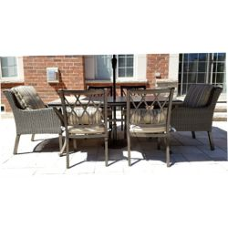 Hampton Bay Cape Blanco 7-Piece Mixed Media Patio Dining Set