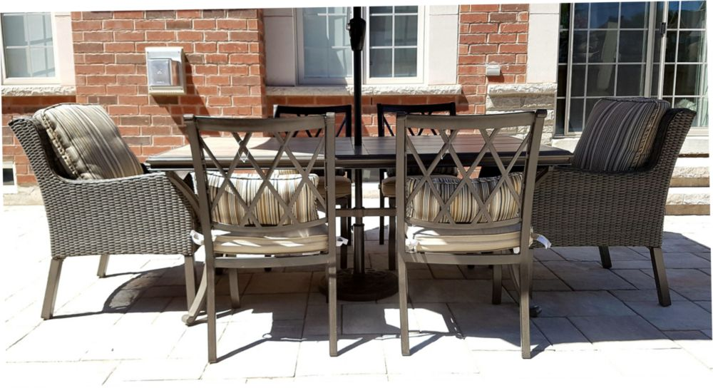 Cape Blanco 7 Piece Mixed Media Patio Dining Set