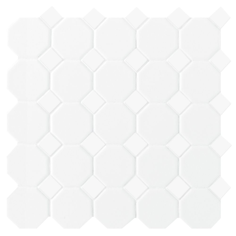 12-inch x 12-inch x 6 mm Ceramic Octagon/Dot Mosaic Tile in Matte White (10 sq. ft./case)