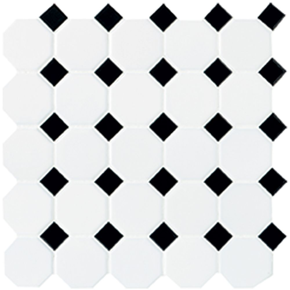 12-inch x 12-inch x 13 mm Ceramic Octagon/Dot Mosaic Tile in Matte White with Black Dot (10 sq. f...