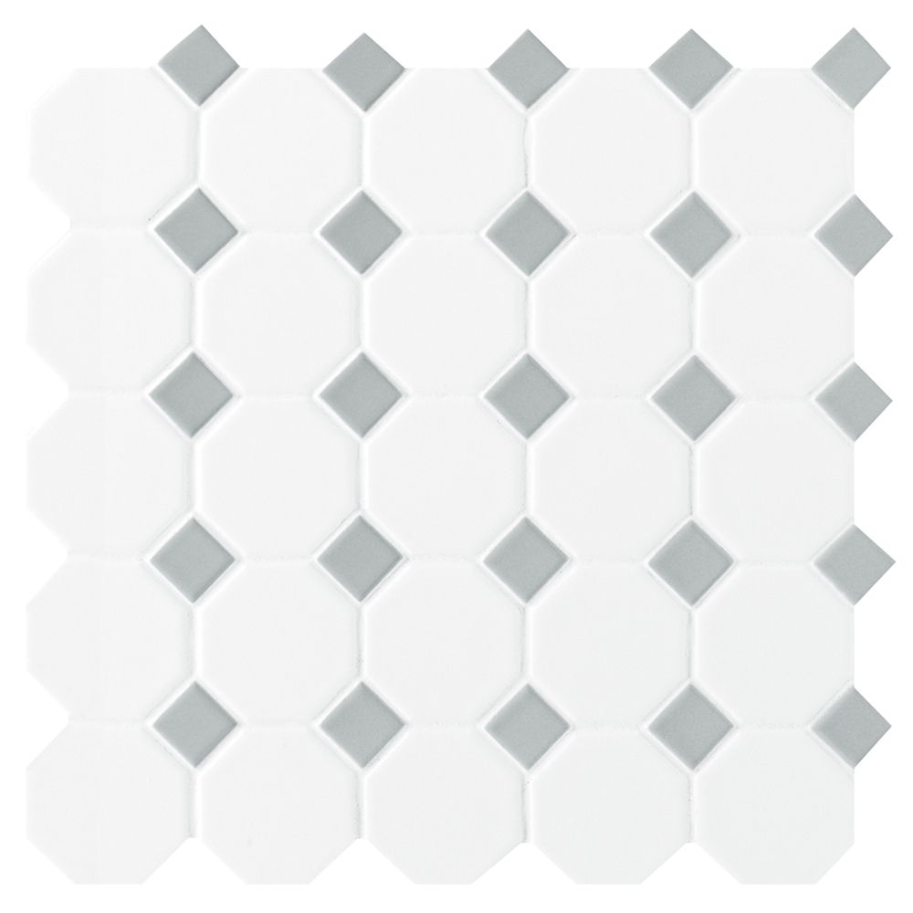 12-inch x 12-inch x 13 mm Ceramic Octagon/Dot Mosaic Tile in Matte White with Grey Dot (10 sq. ft...