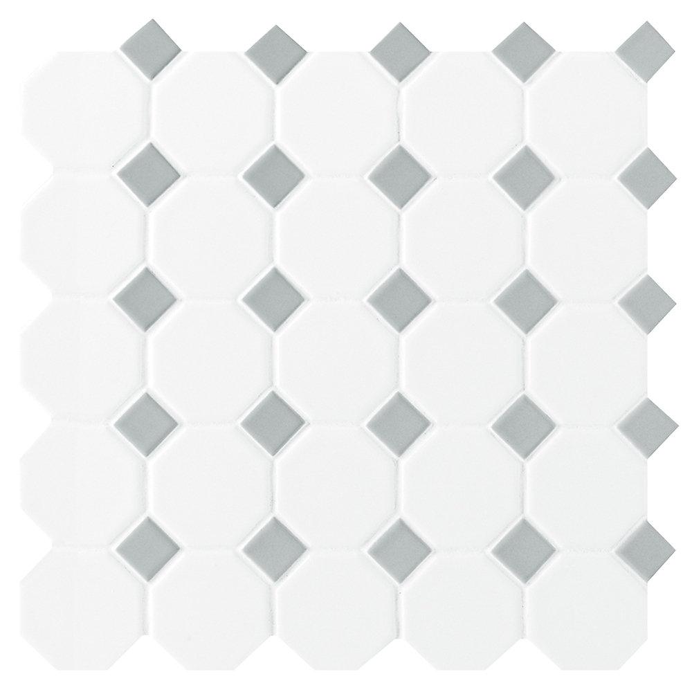 Octagon/Dot Matte White & Grey 12-inch x 12-inch x 13 mm Ceramic Mosaic Tile (10 sq. ft. / case)