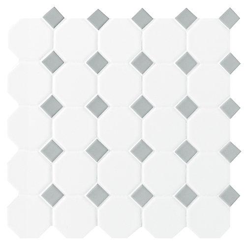 Daltile Octagon/Dot Matte White & Grey 12-inch x 12-inch x 13 mm ...