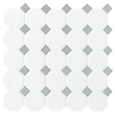 Octagon/Dot Matte White & Grey 12-inch x 12-inch x 13 mm Ceramic Mosaic Tile (10 sq. ft. / case)
