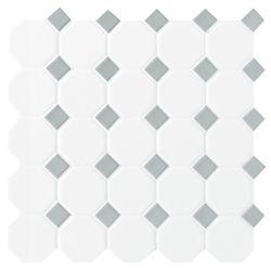 Daltile Octagon/Dot Matte White & Grey 12-inch x 12-inch x 13 mm Ceramic Mosaic Tile (10 sq. ft. / case)
