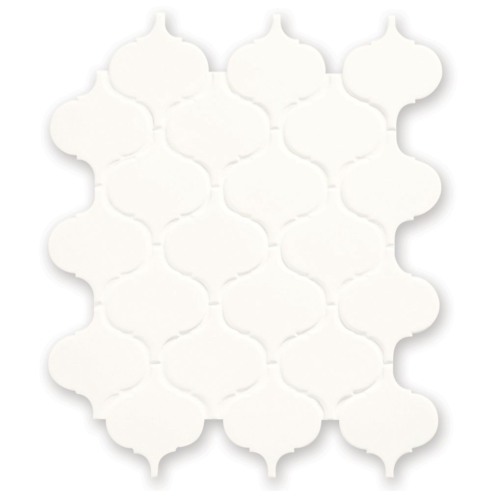 Finesse White 10 Inch. X 12 Inch. X 6 Mm Glazed Porcelain Arabesque Mosaic Wall Tile (7.5 Sq. Fee...