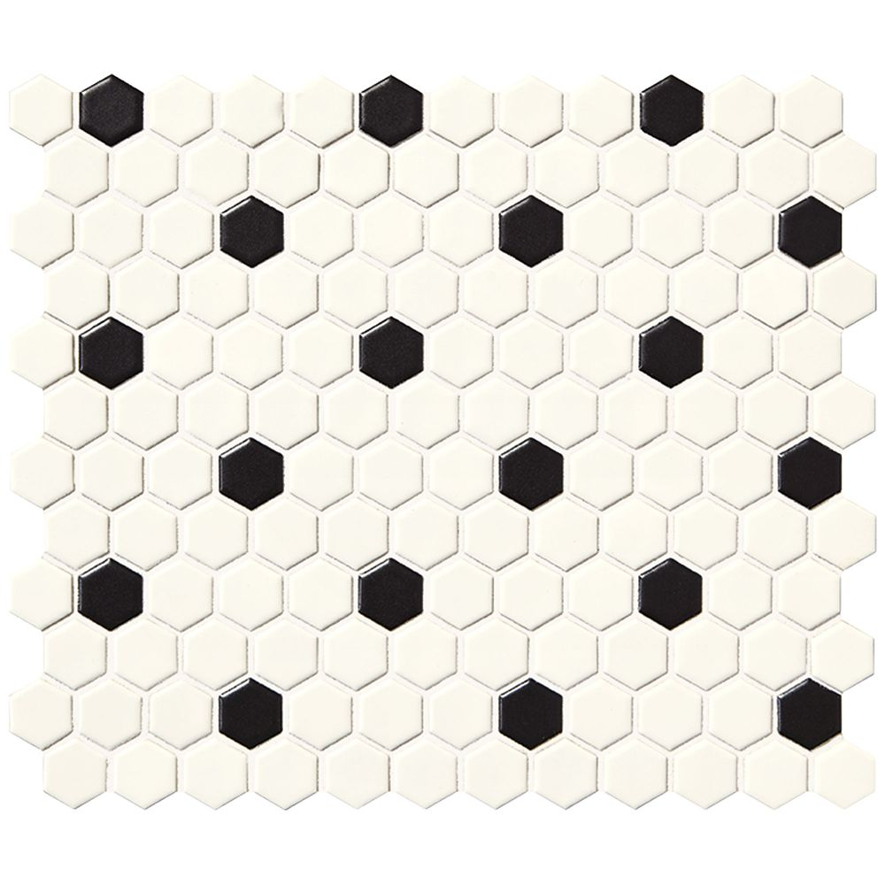 Finesse Satin White With Black Dot 10 Inch. X 12 Inch. X 6 Mm Glazed Porcelain Hexagon Mosaic Wal...