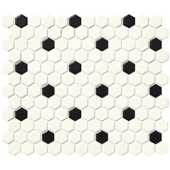 Daltile Finesse Satin White With Black Dot 10 Inch X 12 6 Mm Glazed Porcelain Hexagon Mosaic Wall Tile 9 09 Sq Feet