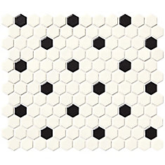 Finesse Satin White With Black Dot 10 Inch. X 12 Inch. X 6 Mm Glazed Porcelain Hexagon Mosaic Wall Tile (9.09 Sq. Feet. / Case)