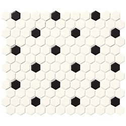Daltile Finesse Satin White with Black Dot 10-inch x 12-inch x 6 mm Glazed Porcelain Hexagon Mosaic Wall Tile (9.09 Sq. Feet. / Case)