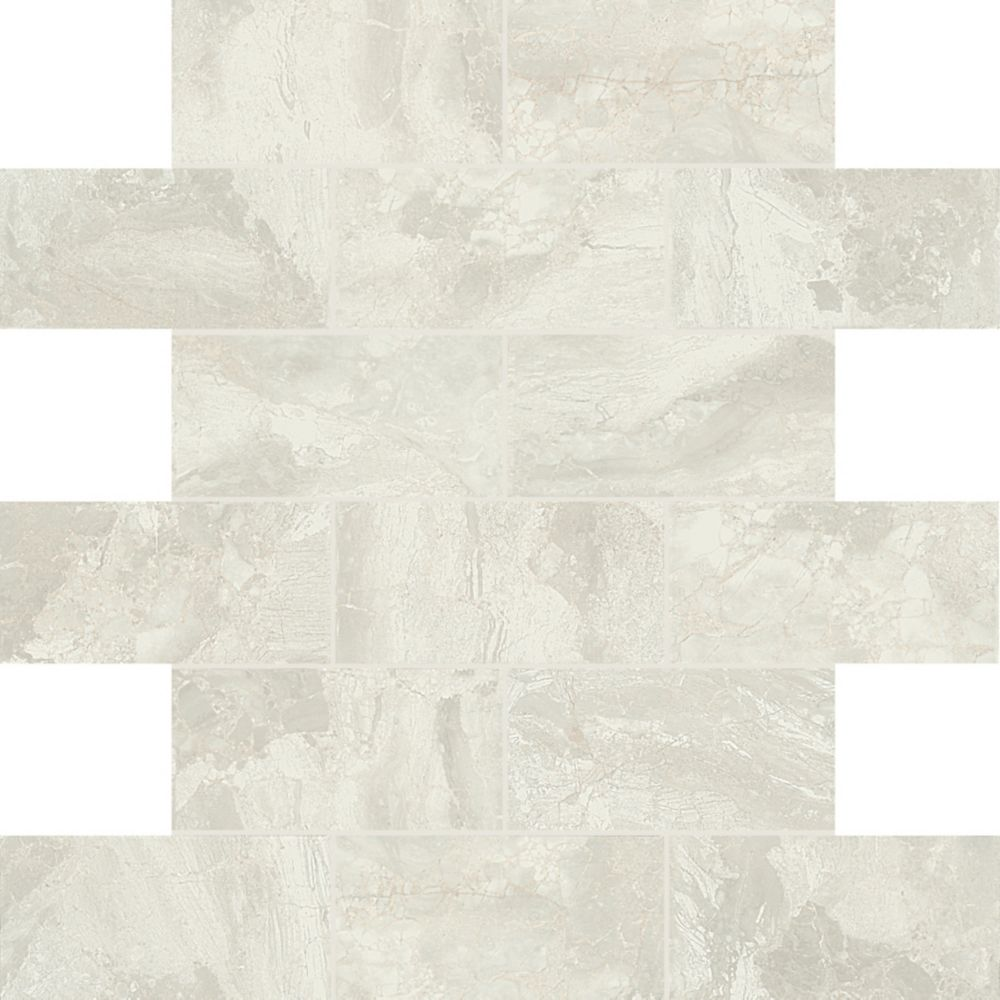 Marble Falls White Water 12 Inch. X 12 Inch. X 6 Mm Ceramic Mosaic Tile (9.96 Sq. Feet. / Case)