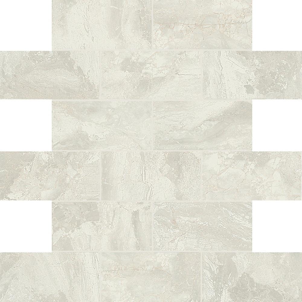 Carreau de mosaïque en céramique blanc pur MarbleFalls