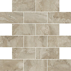 Marble Falls 12-inch x 12-inch x 6 mm Ceramic Mosaic Tile in Highland Beige (9.96 sq. ft./case)