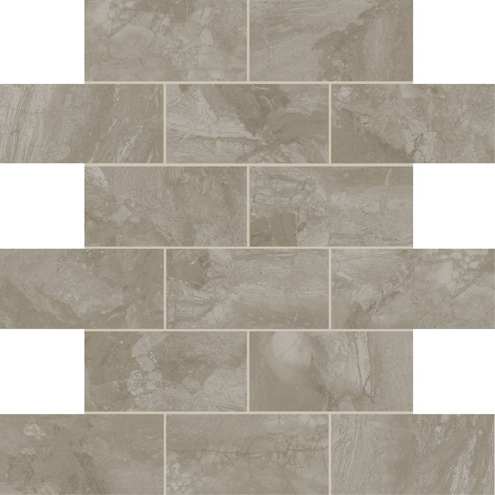 Marble Falls 12-inch x 12-inch x 6 mm Ceramic Mosaic Tile in Grey Pearl (9.96 sq. ft./case)