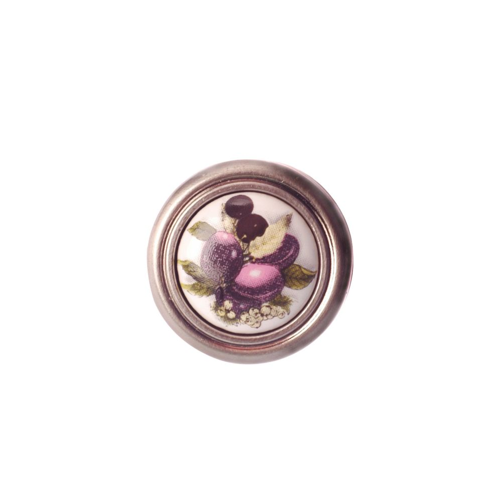 Richelieu Eclectic Metal and Ceramic Knob - Plum and Brushed Nickel - 32 mm Dia.