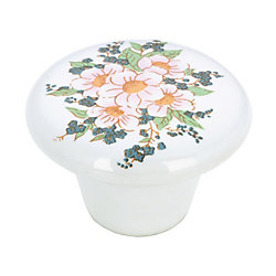 Richelieu Eclectic Ceramic Knob 1 1/2 in (38 mm) Dia - Flower Bouquet - Vannes Collection