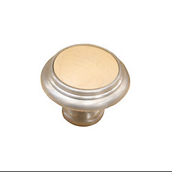 Richelieu Traditional Metal and Wood Knob 1 1/4 in (32 mm) Dia - Cherbourg Collection