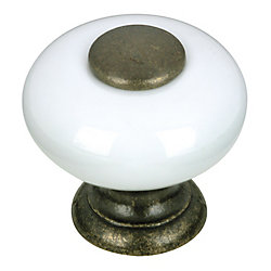Richelieu Eclectic Ceramic and Metal Knob 31/32 in (25 mm) Dia - White - Cherbourg Collection