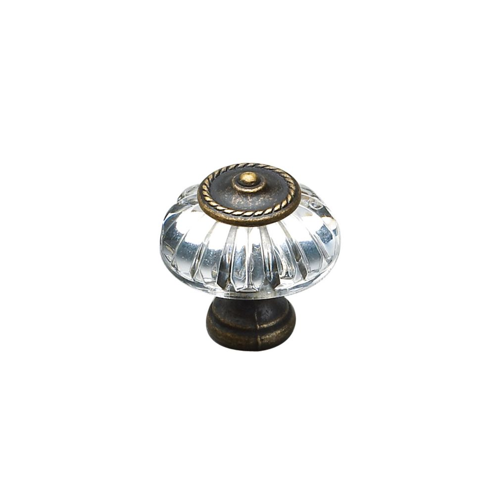 Richelieu Eclectic Metal and Acrylic Knob 1 5/16 in (33 mm) Dia - Burnished Brass - Montreuil Collection