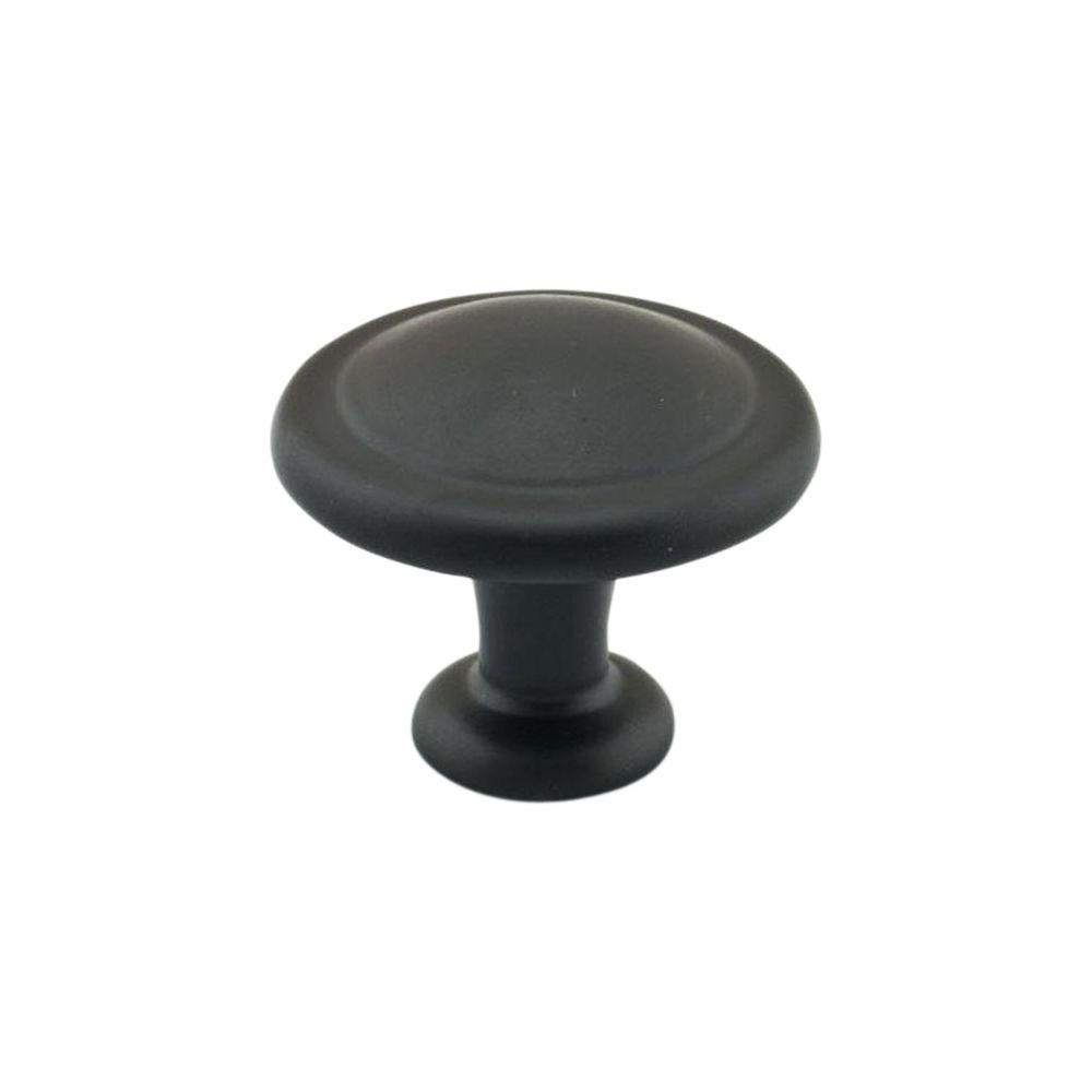 Richelieu Traditional Metal Knob 1 1/4 in (32 mm) Dia - Matte Black - Toulouse Collection