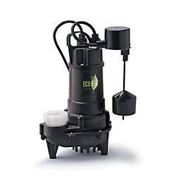 ECOFLO Sump Pump, Submersible, 3/4HP, CI, Vertical Sw