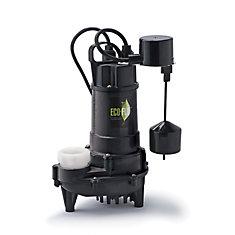 Pompe de puisard submersible, 3/4HP, fonte, interrupteur à flotteur vertical