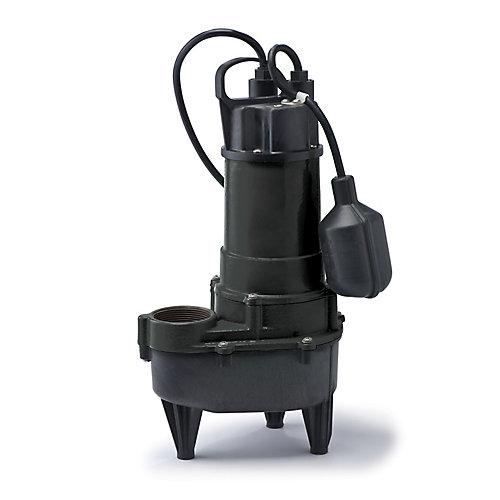 Pompe deaux dégout, 4/10HP, fonte et plastique, 5700gal/h, interrupteur à flotteur attaché