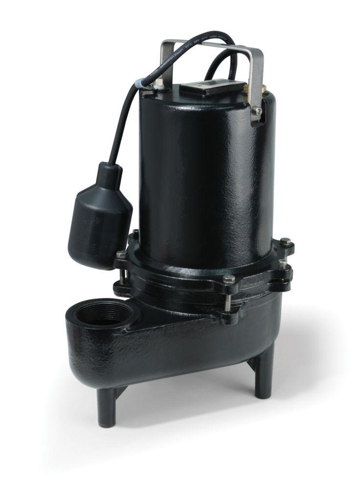 Pompe deaux dégout, 4/10HP, fonte de qualité sup., 6600gal/h, interrupteur à flotteur attaché