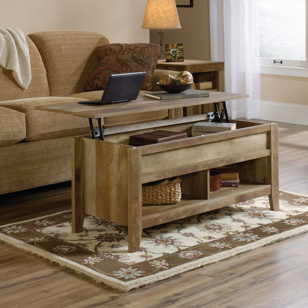 Sauder Dakota Pass Lift-Top Coffee Table in Craftsman Oak