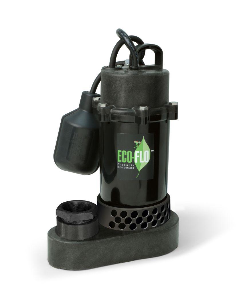 Pompe de puisard submersible, 1/3HP, plastique, interrupteur à flotteur attaché