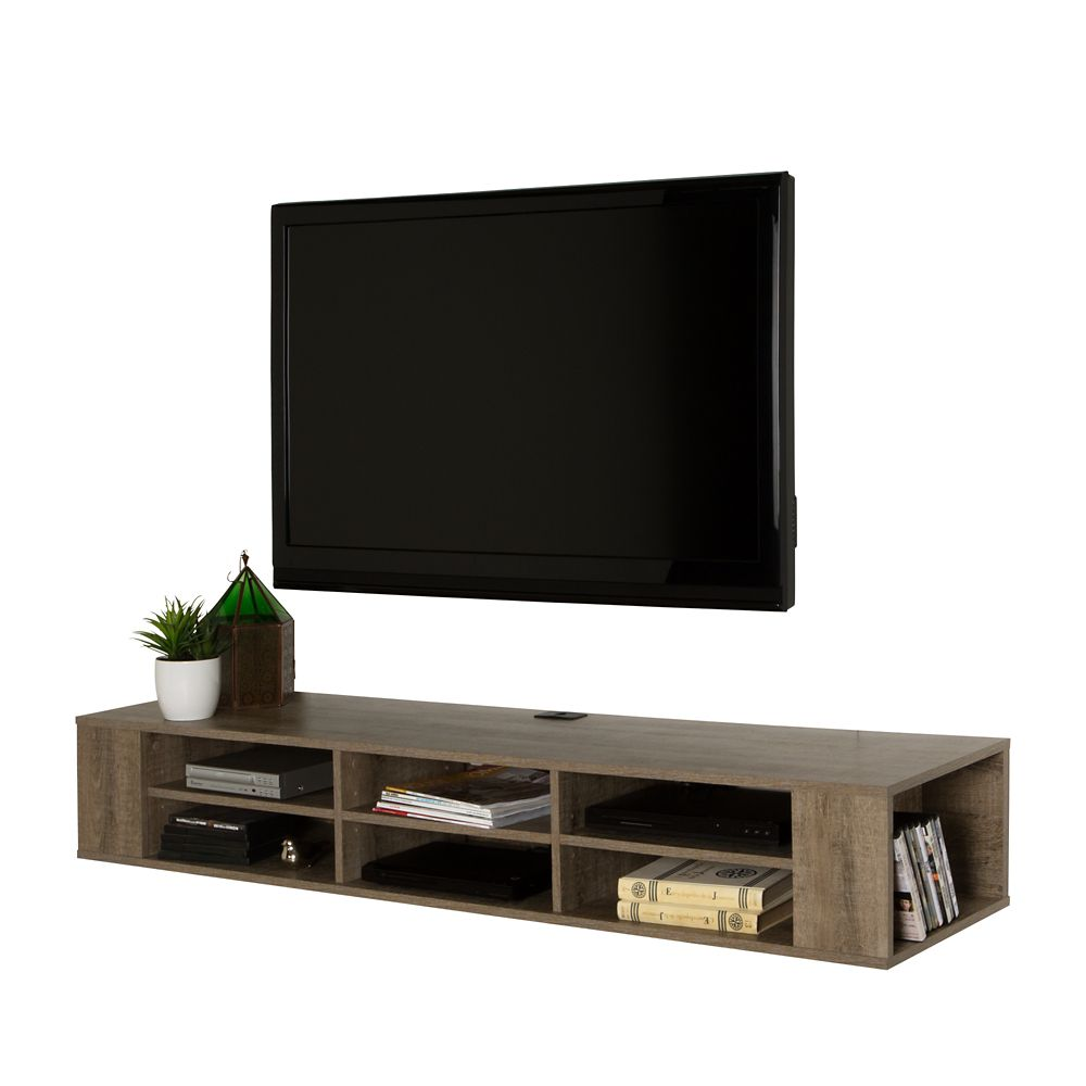 South Shore City Life 66 Inch Wall Mounted Media Console, Weathered Oak