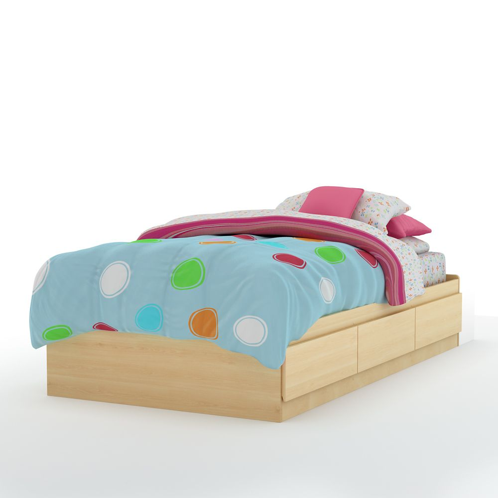 Popular Twin Mates Bed (39 Inch), Natural Maple