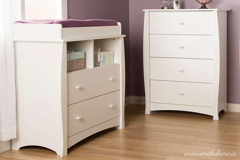 Beehive Changing Table with Removable Changing Station and 4-Drawer Chest, Pure White