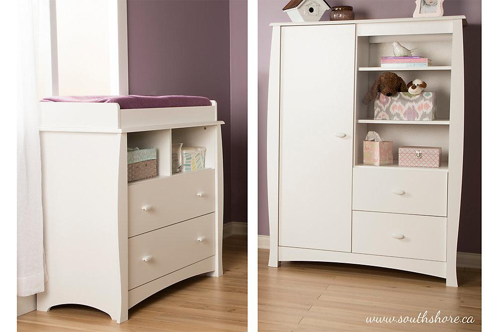 Table à langer avec pourtour amovible et armoire avec tiroirs, Blanc solide, collection Beehive