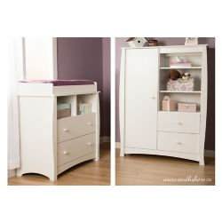 South Shore Beehive Changing Table with Removable Changing Station and Armoire with Drawers, Pure White