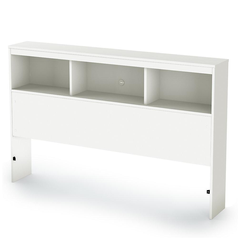 Tête de lit bibliothèque double (54''), Blanc solide, collection Karma