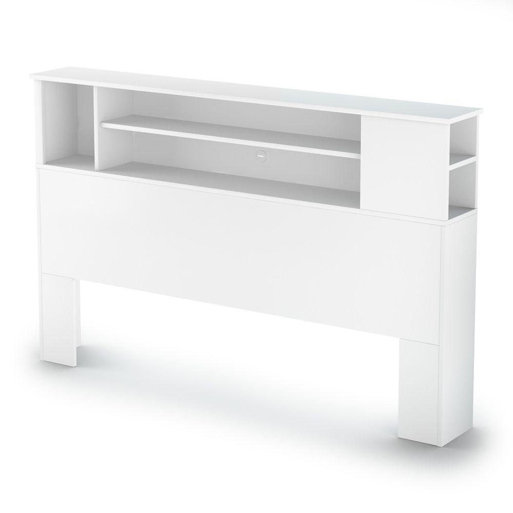 South Shore Fusion Full/Queen Bookcase Headboard (54/60 Inch), Pure White