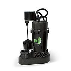 Pompe de puisard submersible, 1/3HP, plastique, interrupteur à flotteur vertical