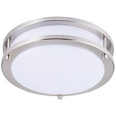 10 Inch LED Flushmount Brush Nickel Fixture 4000K Dimmable NW