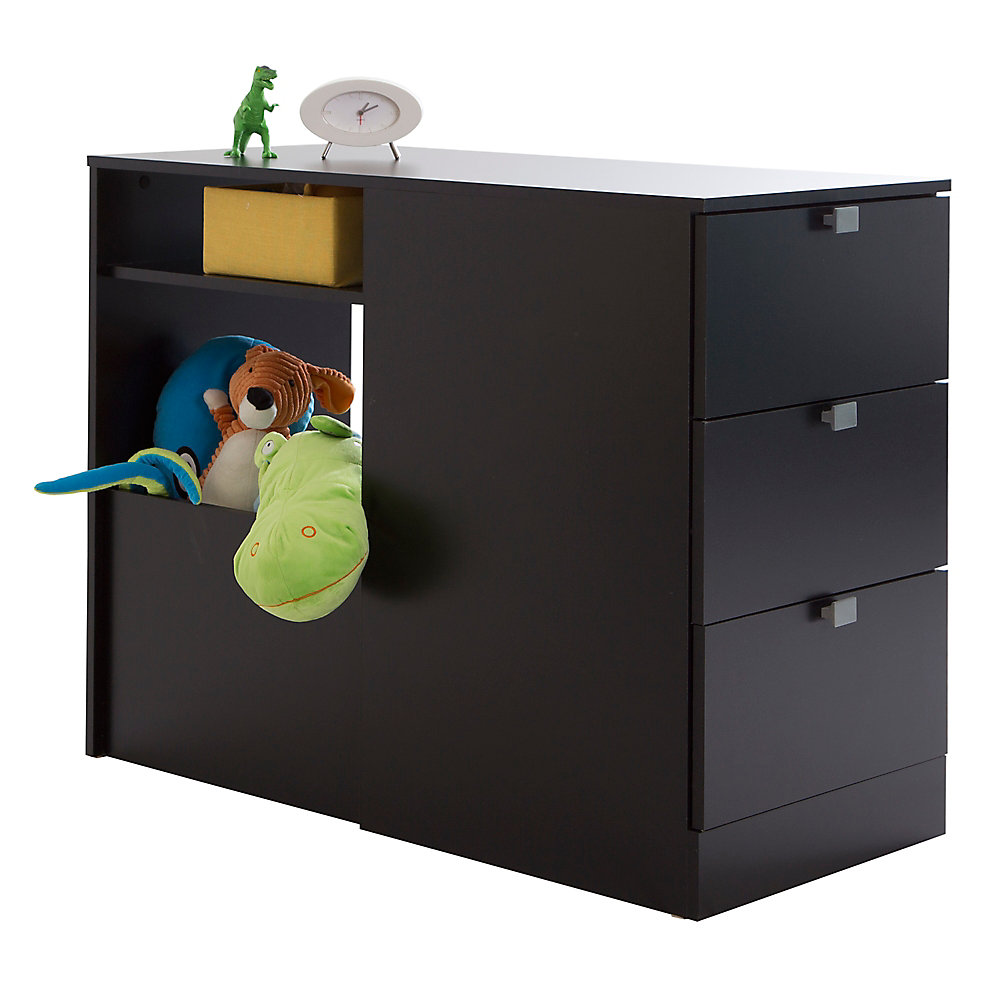 """Tête de lit bibliothèque simple 3 tiroirs (39""""), Noir solide, collection Spark"""
