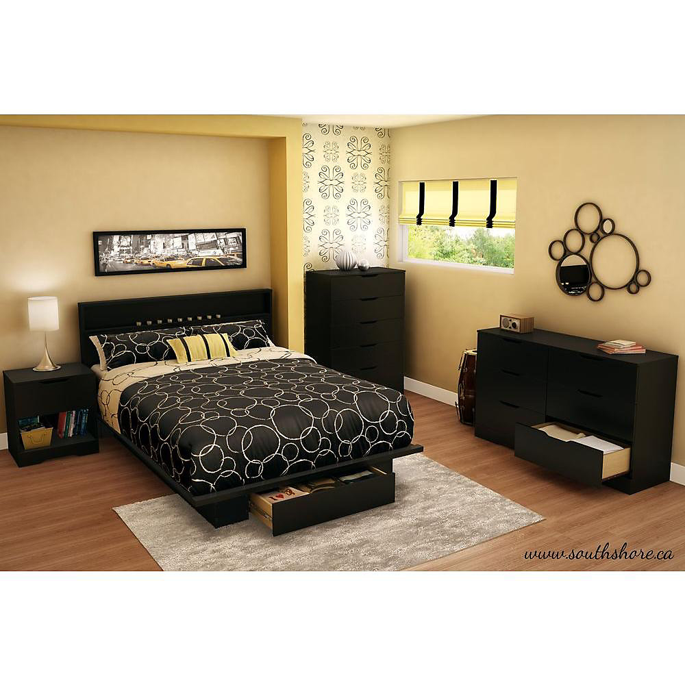 ae3e9e7b2f530e South Shore Holland 1-Drawer Full/Queen-Size Platform Bed in Pure Black