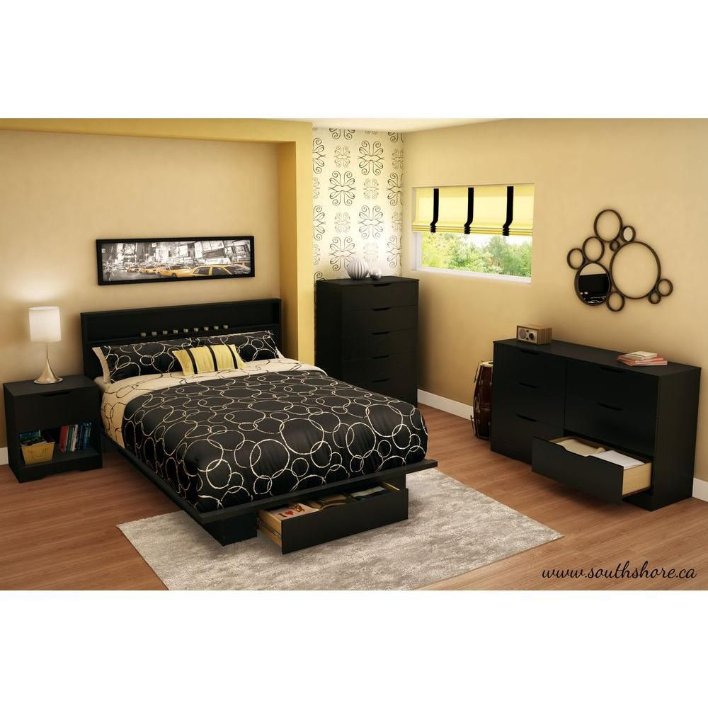 South Shore Holland 1-Drawer Full/Queen-Size Platform Bed in Pure Black