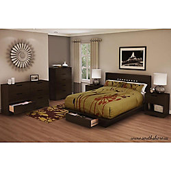 Holland Full/Queen Platform Bed (54/60 Inch) with drawer, Mocha